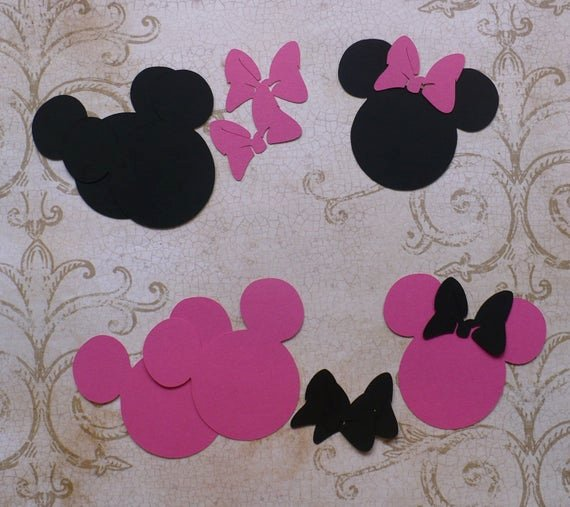Minnie Mouse Cut Out Pattern Inspirational Items Similar to Minnie Mouse Head Shapes Black Hot Pink