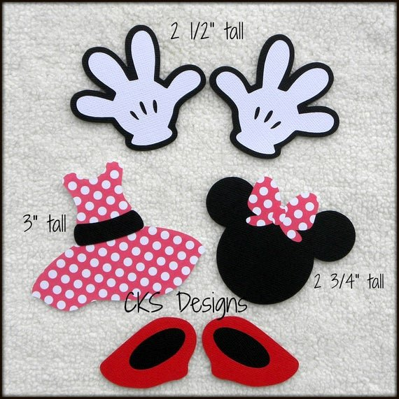 Minnie Mouse Cut Out Pattern Luxury Die Cut Disney Red or Pink Minnie Mouse Hands Shoes Dress