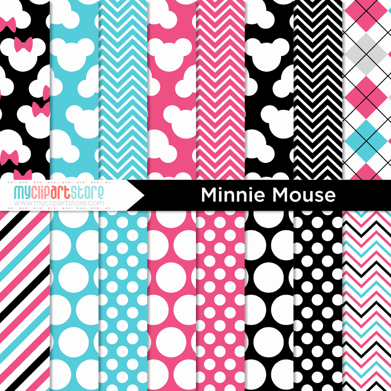 Minnie Mouse Cut Out Pattern Unique Digital Paper Minnie Mouse by Myclipartstore Craftsy