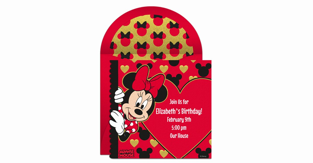 Minnie Mouse Invitation Maker Elegant Line Minnie Mouse Invitation