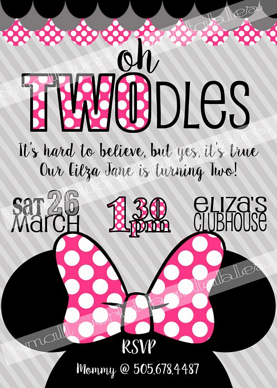Minnie Mouse Invitation Maker Fresh Oh Twodles Invitations Free Thank You Cards toodles Minnie