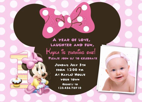 Minnie Mouse Invitation Maker Lovely Minnie Mouse First Birthday Invitations