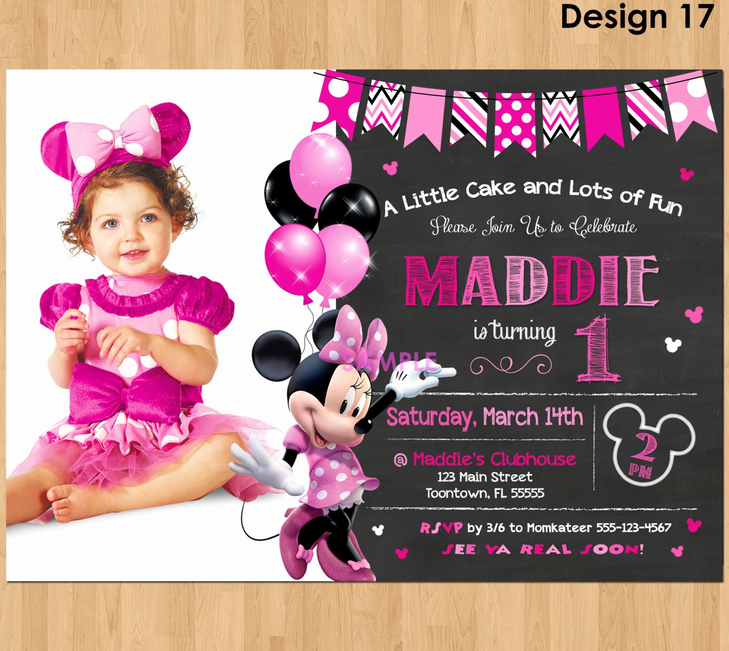Minnie Mouse Invitation Maker New Minnie Mouse Invitation Minnie Mouse 1st Birthday First Bday