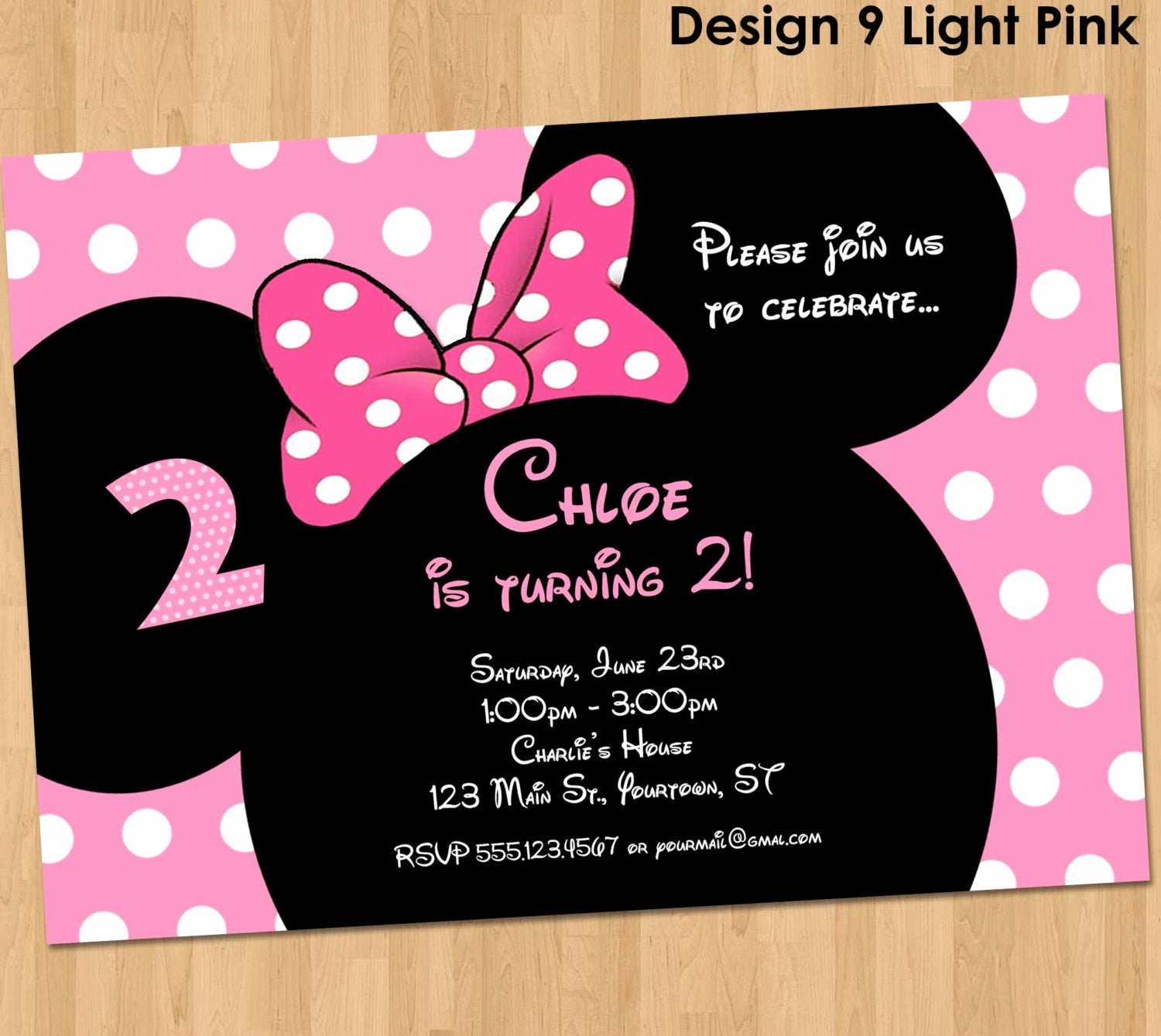 Minnie Mouse Invitation Maker New Minnie Mouse Invitation Printable Birthday Party Custom