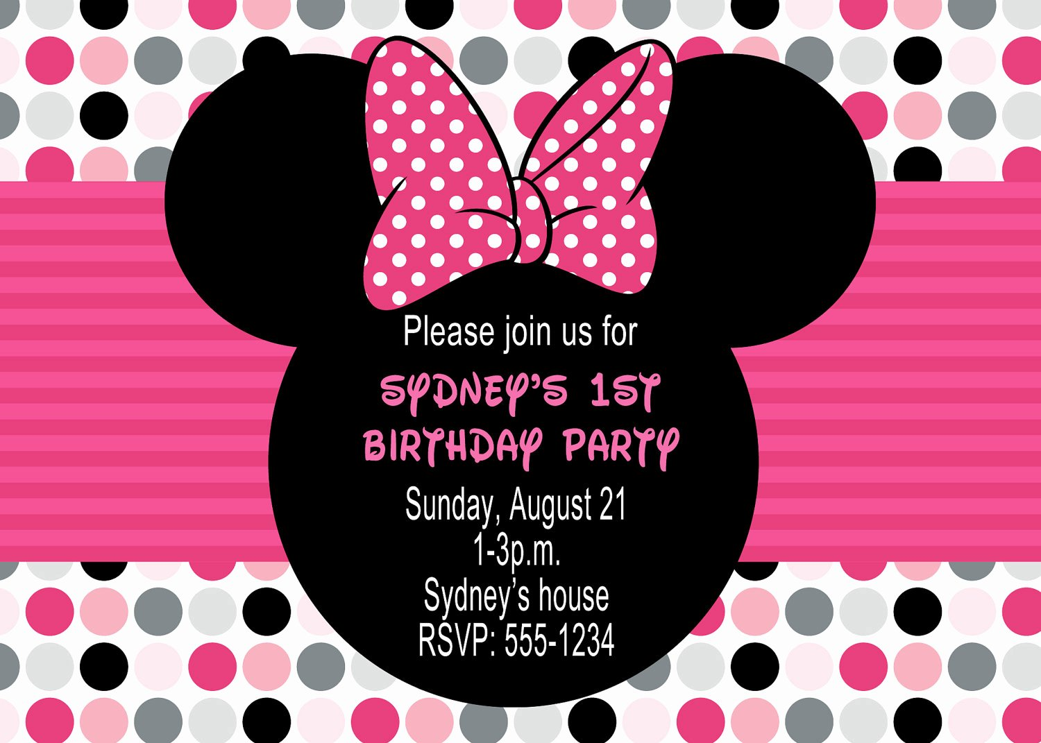 Minnie Mouse Invitation Wording Awesome Minnie Mouse Birthday Party Invitations
