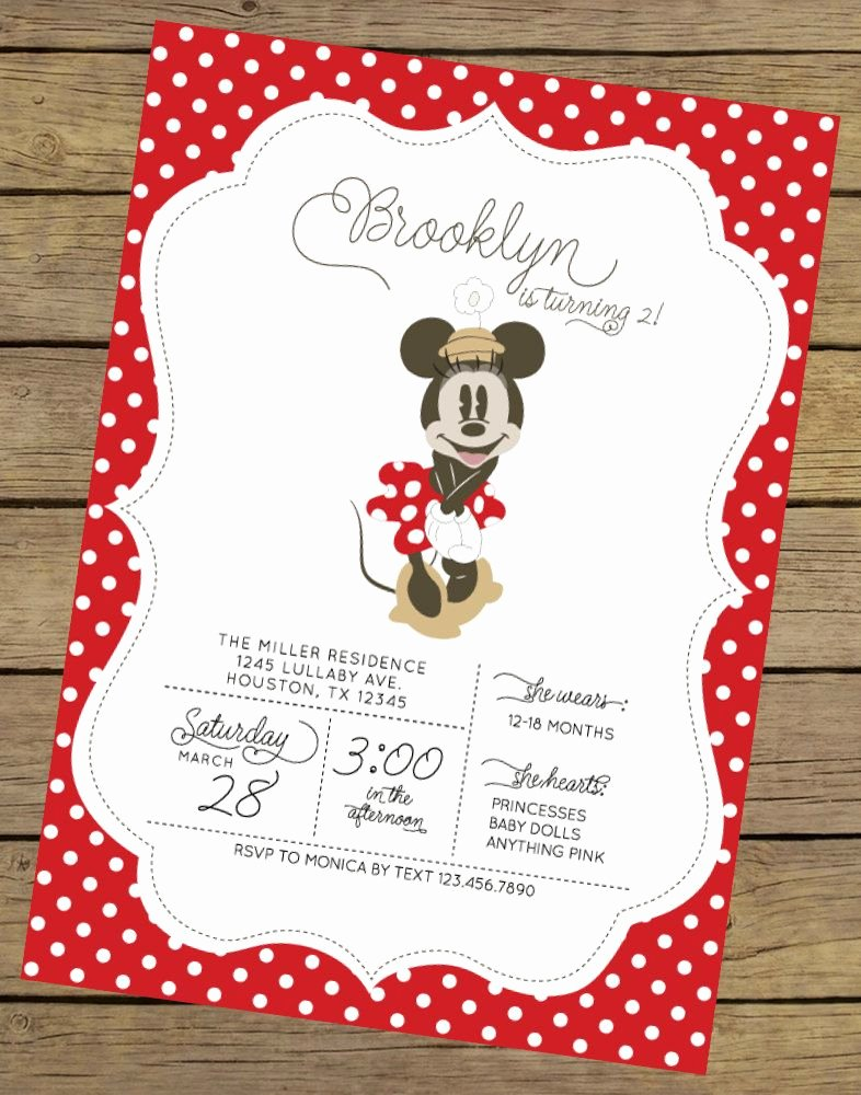 Minnie Mouse Invitation Wording Awesome Vintage Minnie Invitation Minnie Mouse by