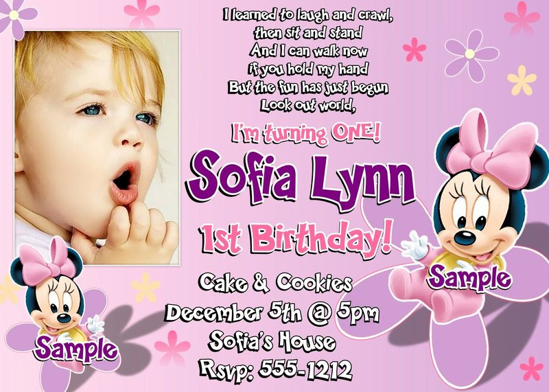 Minnie Mouse Invitation Wording Beautiful 1st Wording Birthday Invitations Ideas – Bagvania Free