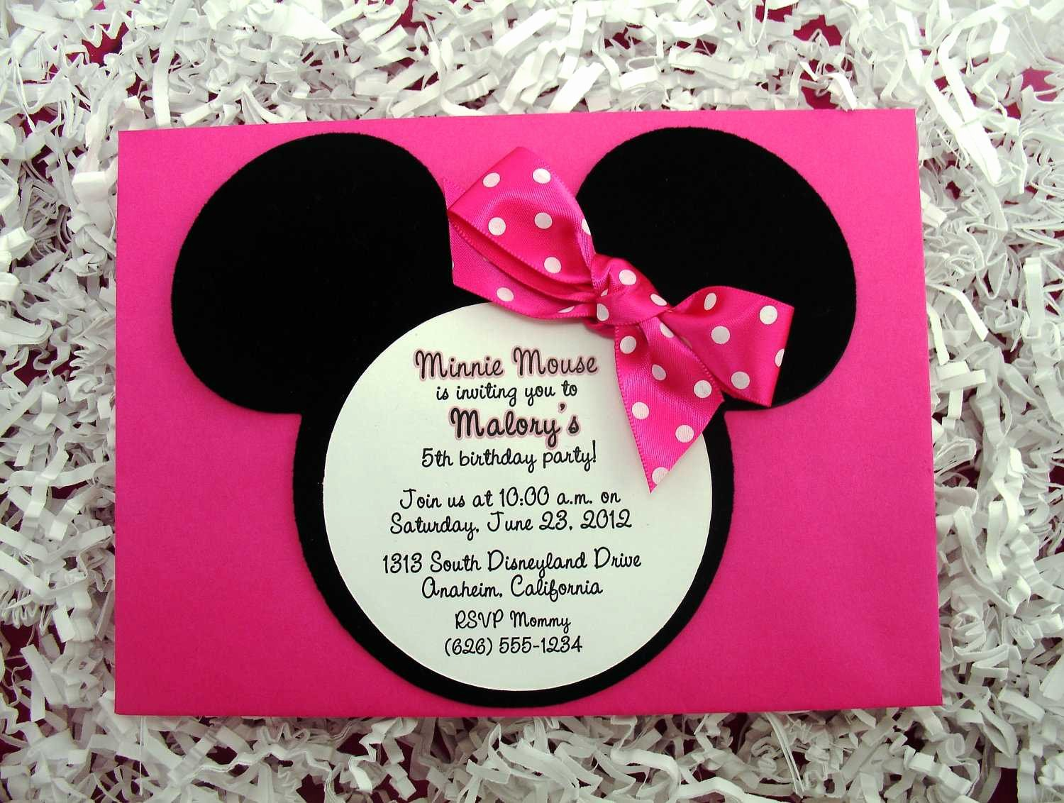 Minnie Mouse Invitation Wording Beautiful Mini Mouse Birthday Invitation