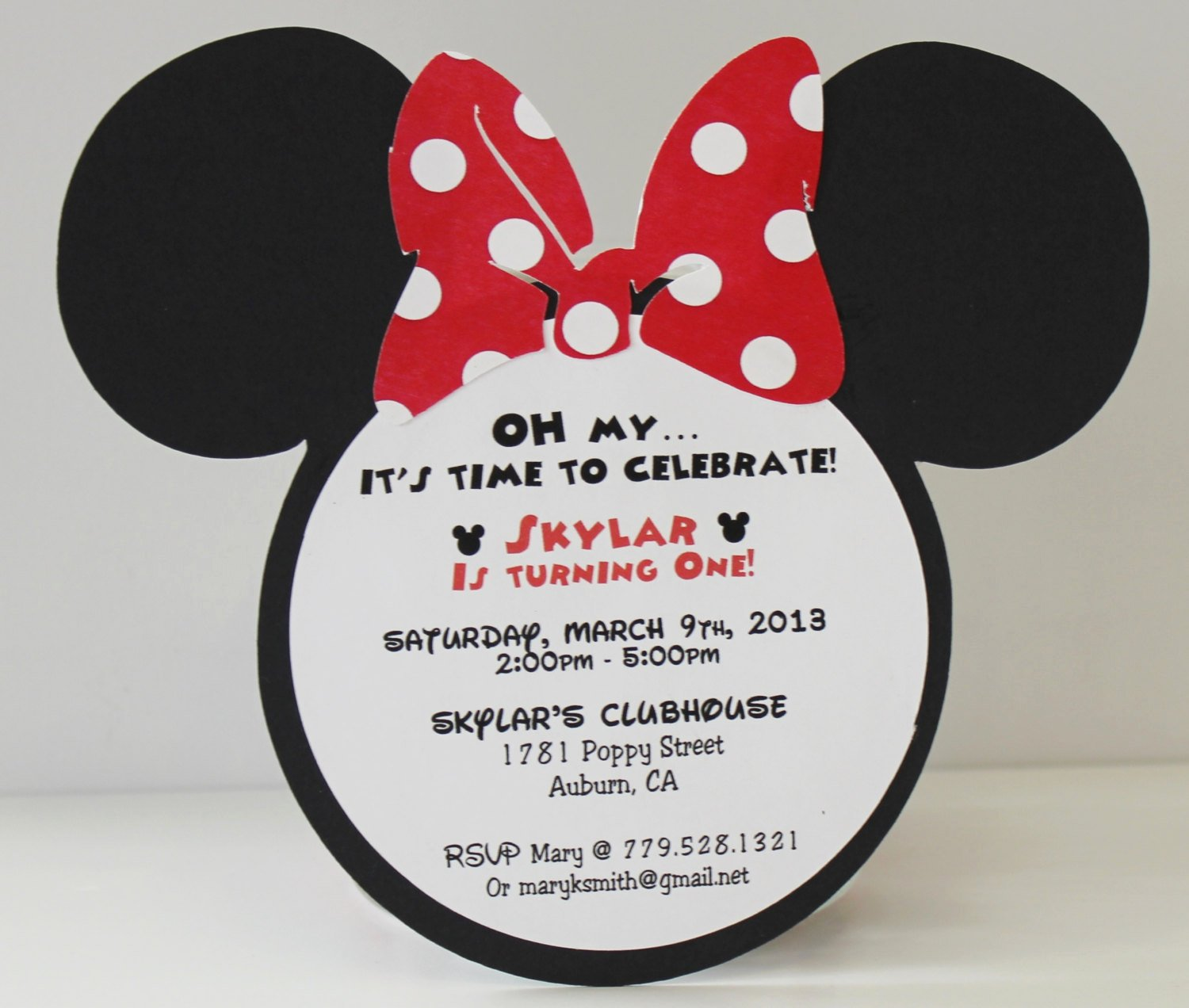 Minnie Mouse Invitation Wording Beautiful Minnie Mouse Birthday Invitation Red Polka Dot Bow