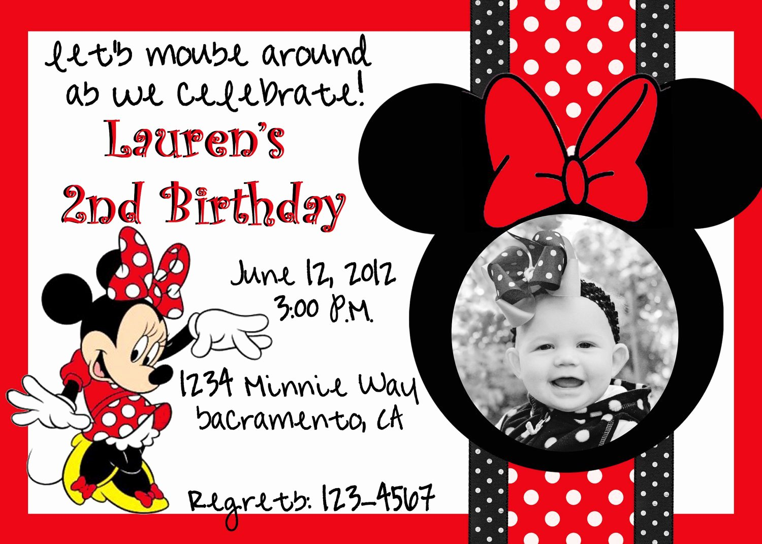 Minnie Mouse Invitation Wording Beautiful Minnie Mouse Birthday Invitations Wording