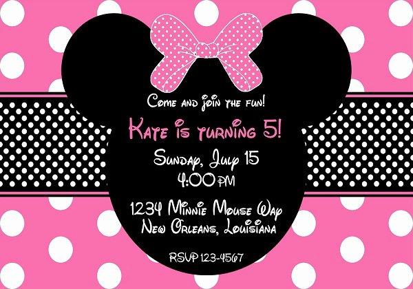 Minnie Mouse Invitation Wording Fresh Minnie Mouse Birthday Invitation 365greetings