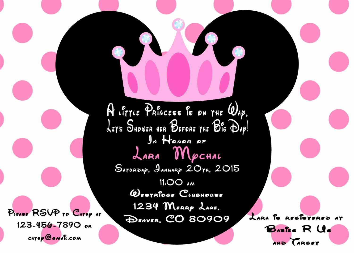 Minnie Mouse Invitation Wording Fresh Minnie Mouse Princess Baby Shower Invitation Printed with