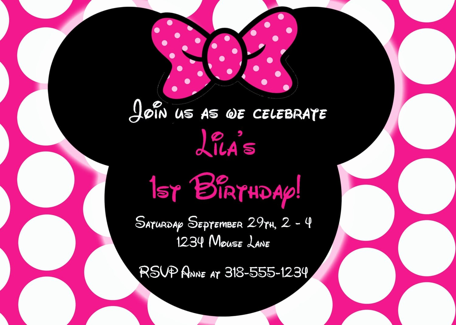 Minnie Mouse Invitation Wording Luxury Editable Free Minnie Mouse Invitation