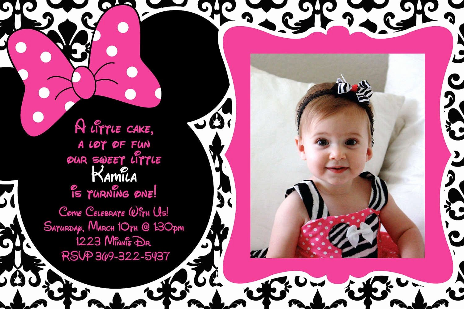 Minnie Mouse Invitation Wording New Free Birthday Invitation Templates Minnie Mouse