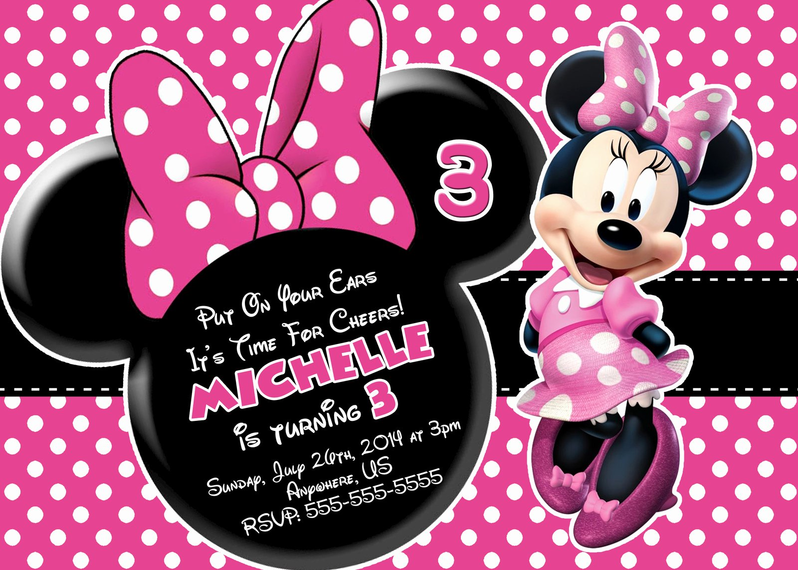 Minnie Mouse Invitation Wording New Free Minnie Mouse Printable Birthday Invitations
