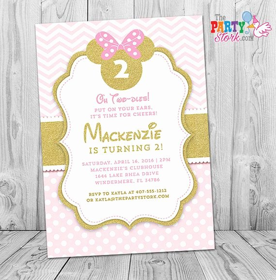 Minnie Mouse Invitation Wording New Pink and Gold Minnie Mouse Invitation Pink and Gold Minnie