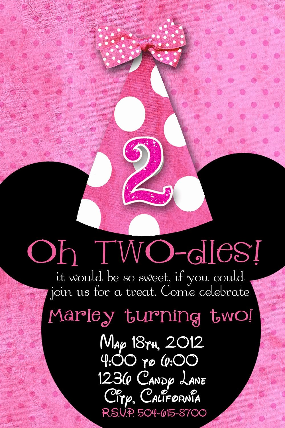 Minnie Mouse Invitation Wording Unique Minnie Mouse Custom Birthday Printable Disney Invitations