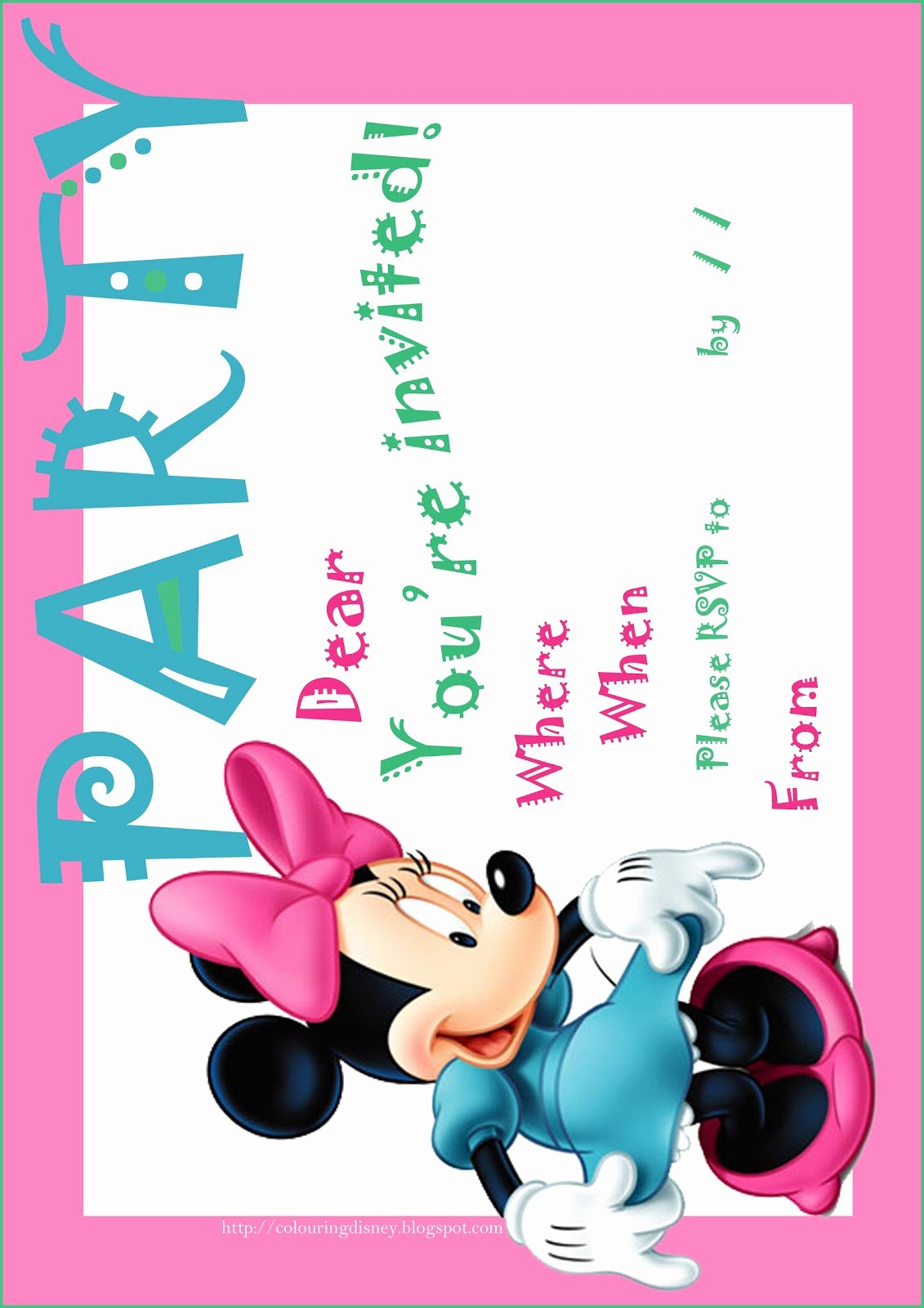 Minnie Mouse Invitations Free Awesome Disney Coloring Pages