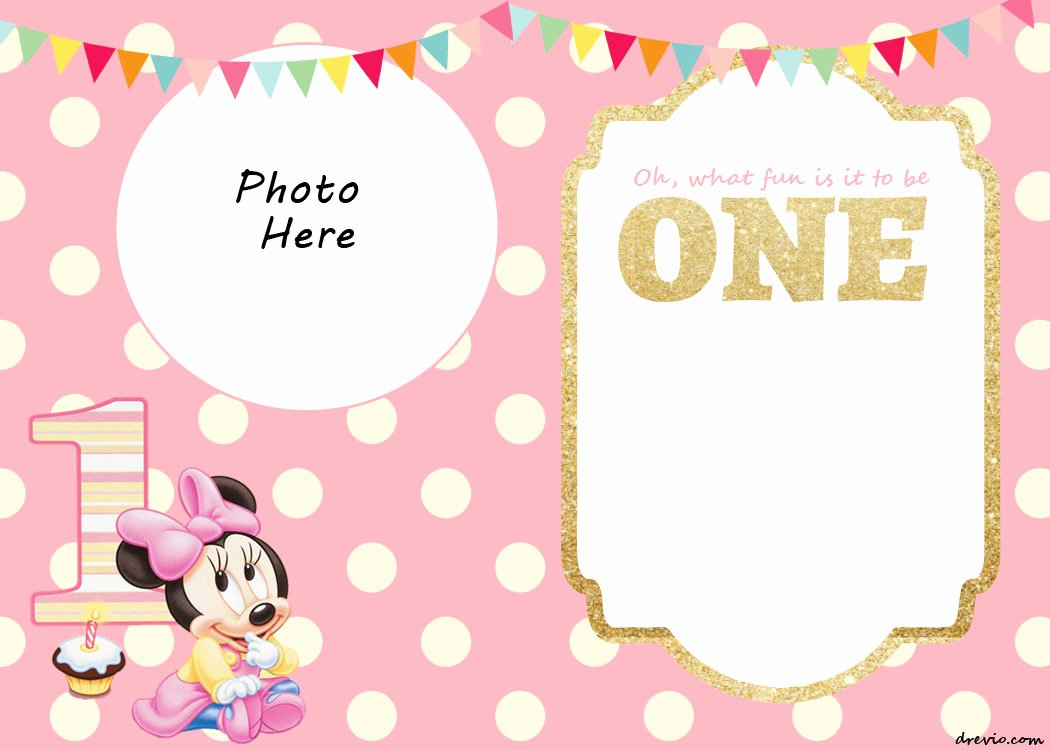 Minnie Mouse Invitations Free Awesome Free Printable Minnie Mouse 1st Invitation Templates