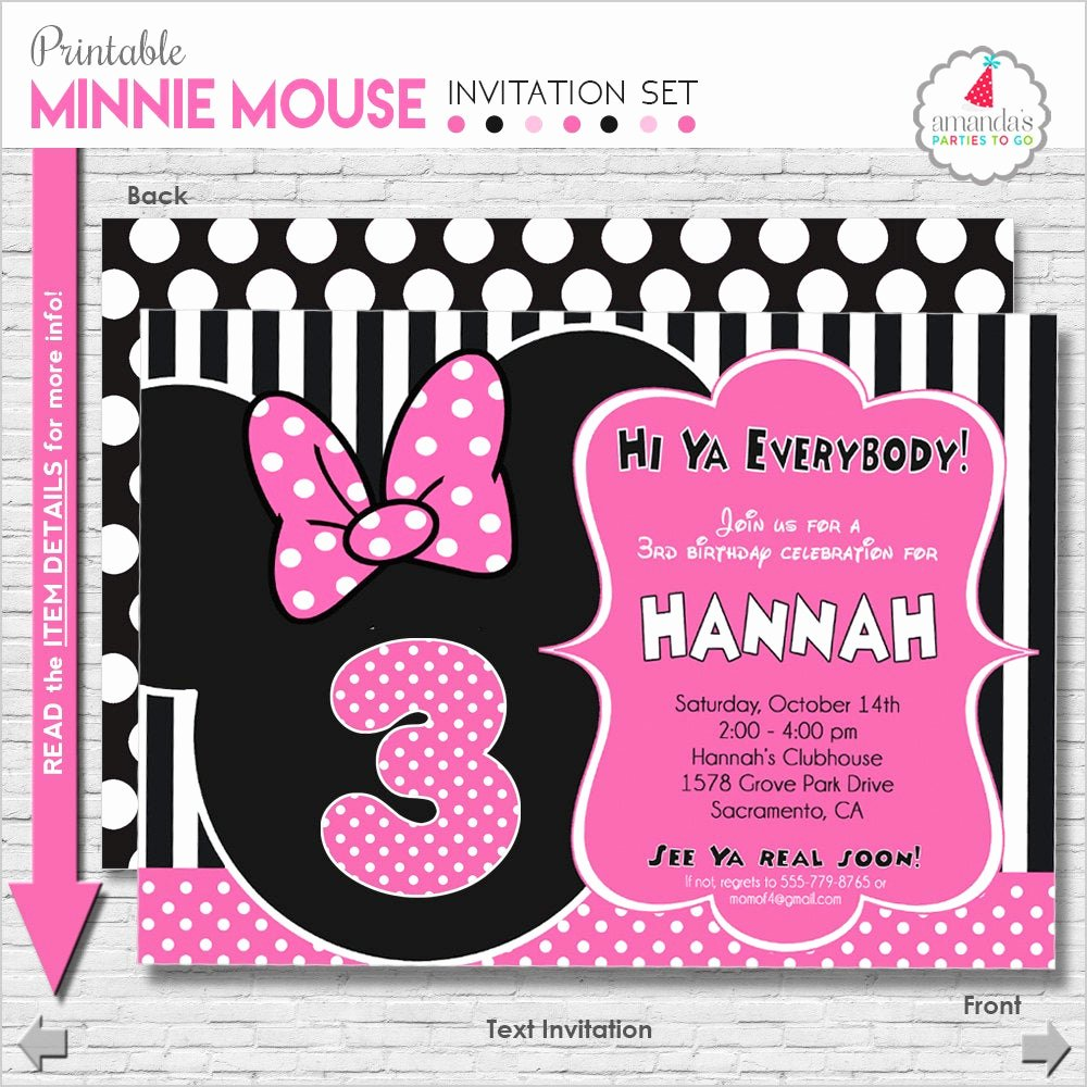 Minnie Mouse Invitations Free New Minnie Mouse Birthday Invitation Printable Minnie Mouse