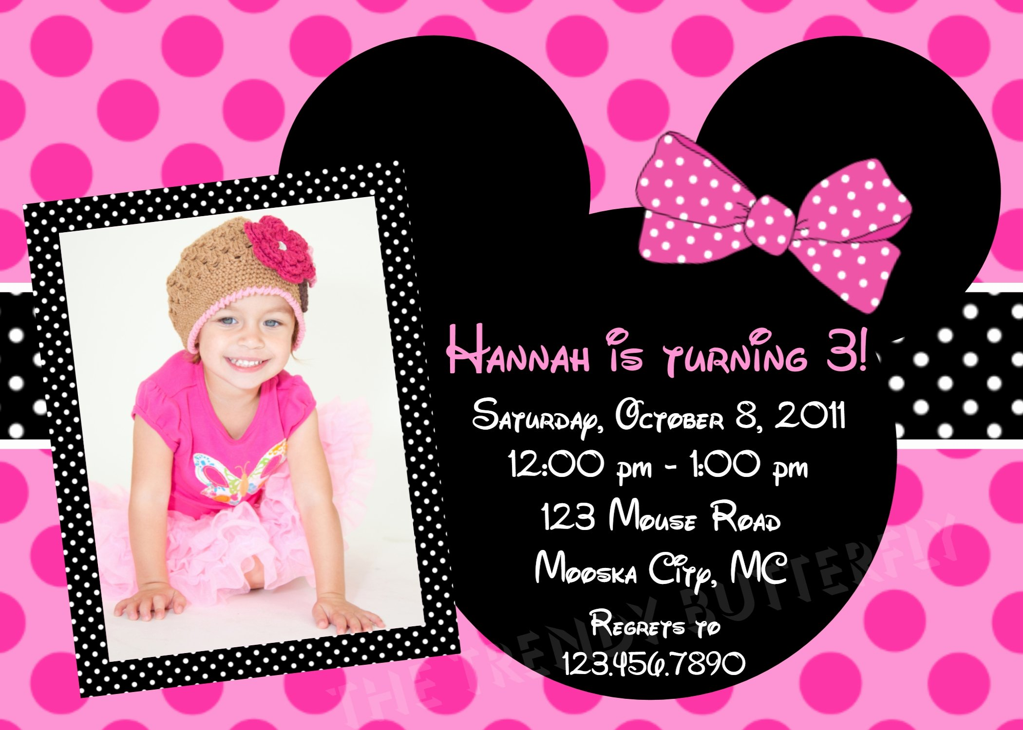 Minnie Mouse Party Invitations Beautiful Birthday Invitations Girls Pink Minnie Mouse Party 1st