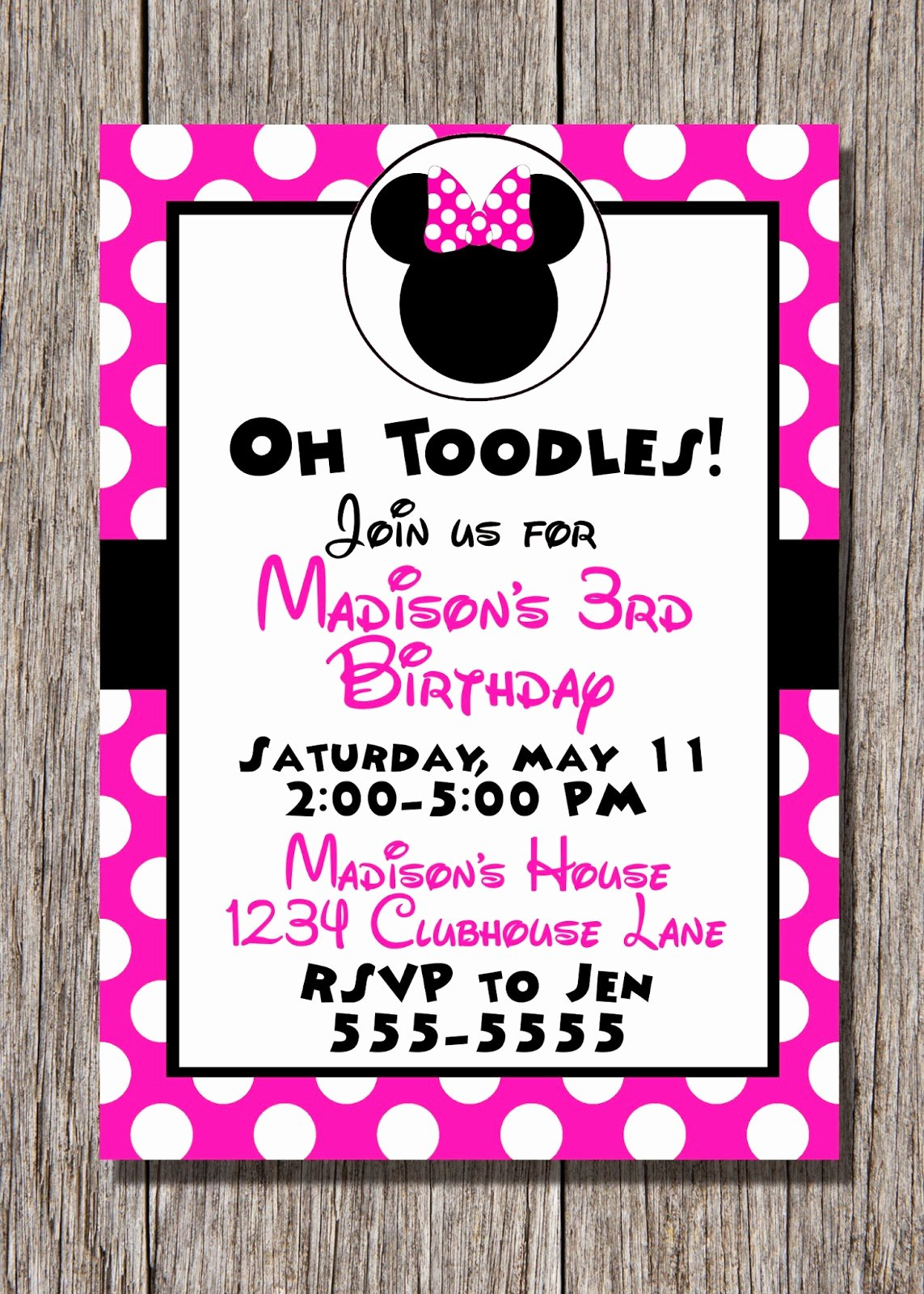 Minnie Mouse Party Invitations Beautiful Pamela Renee Designs Party theme Pink or Red Minnie