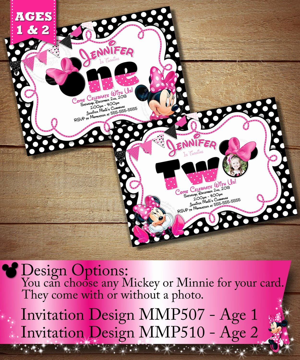 Minnie Mouse Party Invitations Best Of Minnie Mouse First Birthday Invitation Minnie Mouse Second