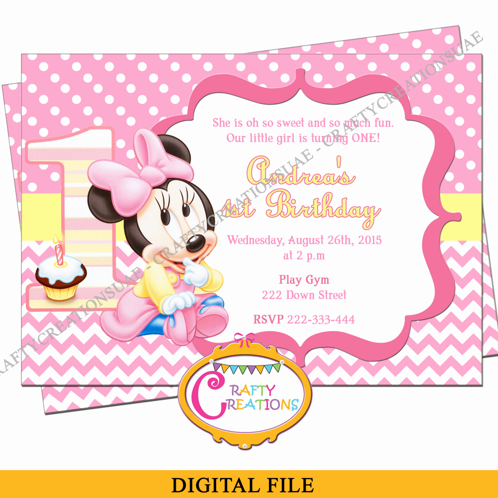 Minnie Mouse Party Invitations Fresh Baby Minnie Mouse Birthday Invitation Baby Minnie First