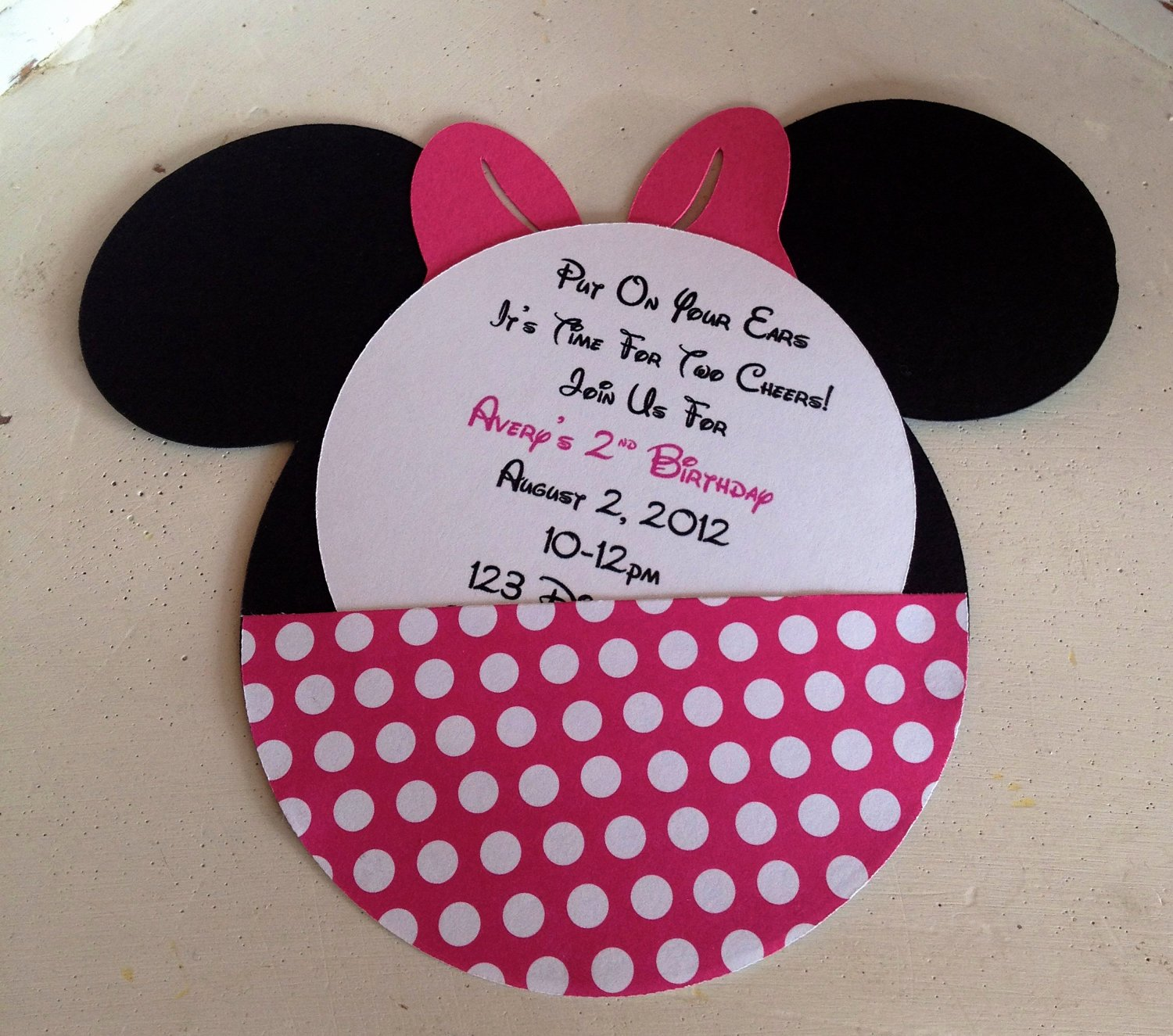 Minnie Mouse Party Invitations Inspirational Handmade Custom Hot Pink Minnie Mouse Birthday Invitations