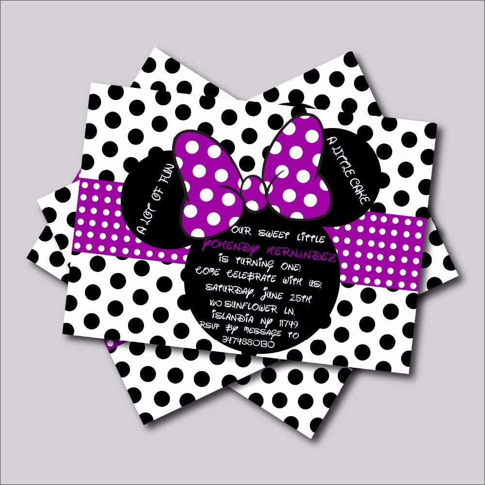 Minnie Mouse Party Invitations Lovely 20 Pcs Lot Custom Purple Minnie Mouse Birthday Invitations
