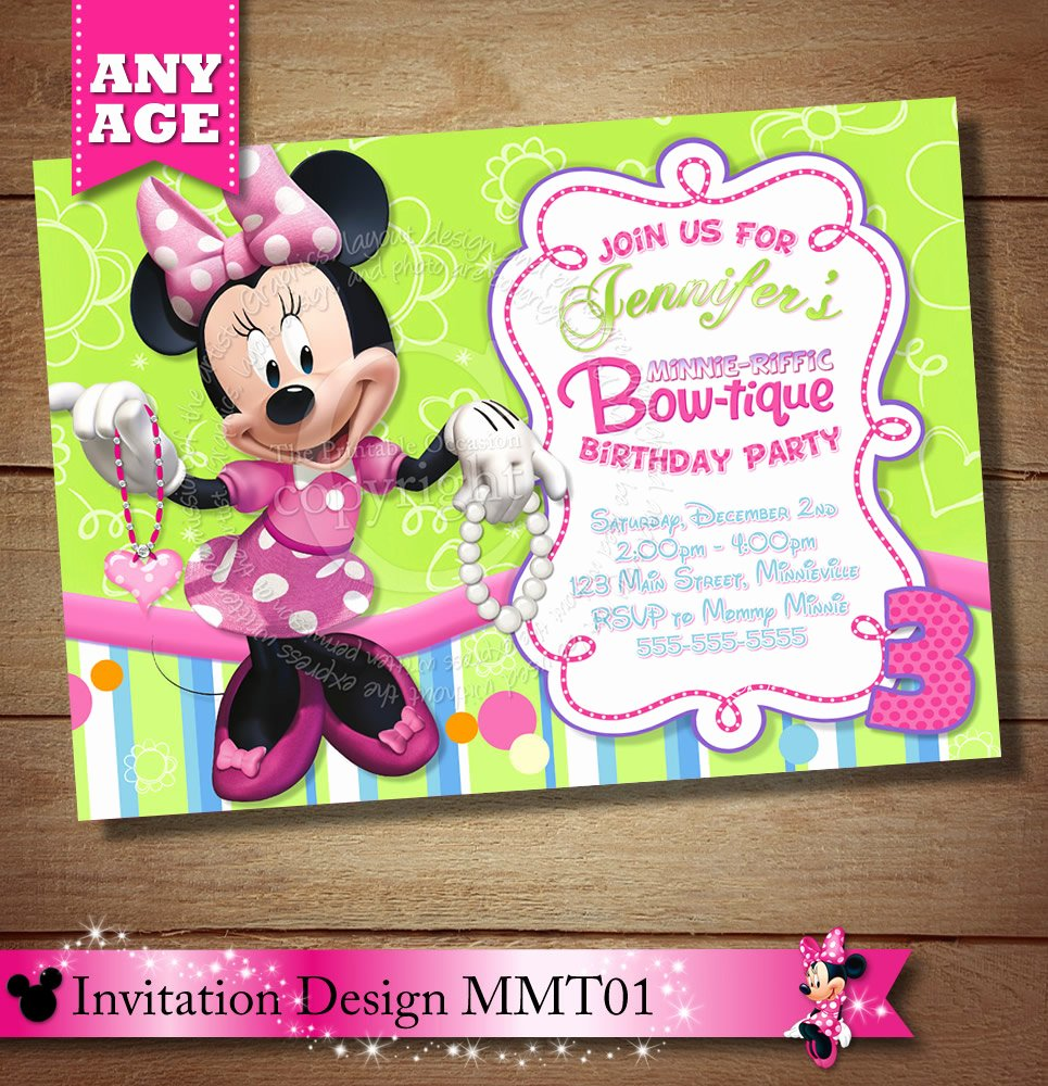 Minnie Mouse Party Invitations Lovely Minnie Mouse Bowtique Invitation Minnie Mouse Bow Tique