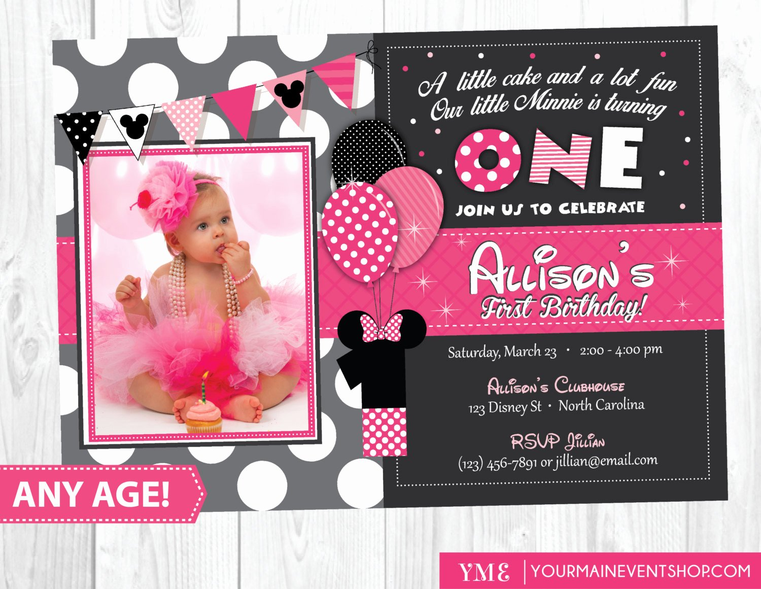 Minnie Mouse Party Invitations Luxury Minnie Mouse Birthday Invitation Minnie Mouse Inspired