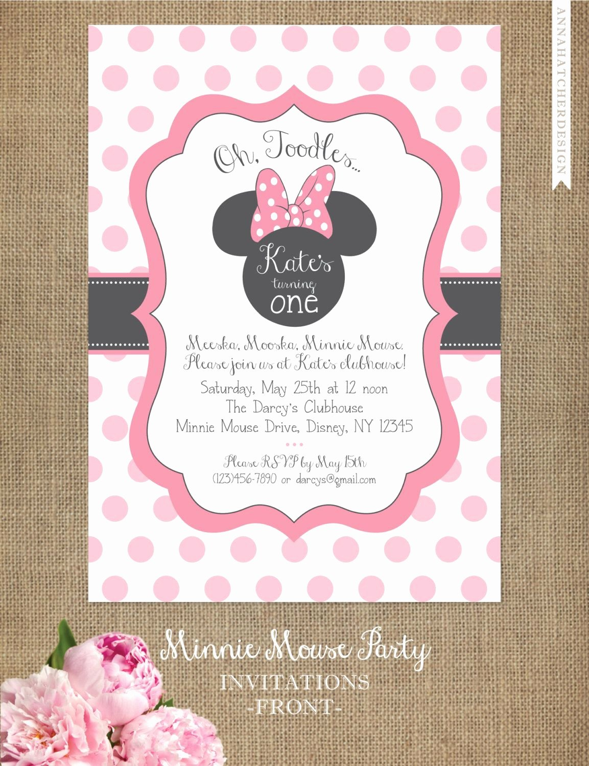 Minnie Mouse Party Invitations New Minnie Mouse Invitation Editable Birthday Invitation