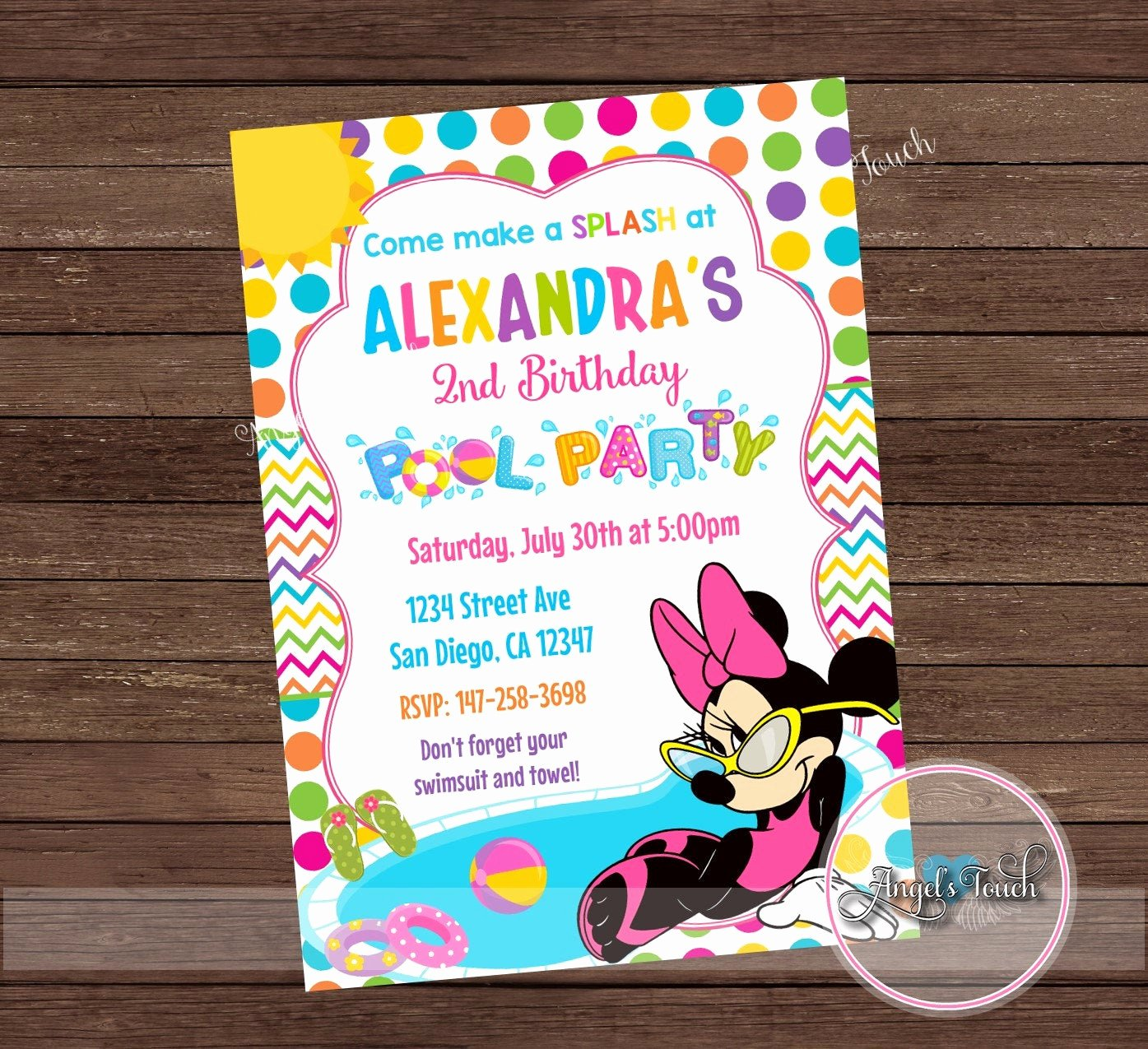 Minnie Mouse Pool Party Invitations Awesome Minnie Mouse Pool Party Invitation Minnie Mouse Birthday
