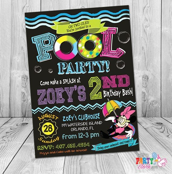 minnie mouse pool party invitation printable
