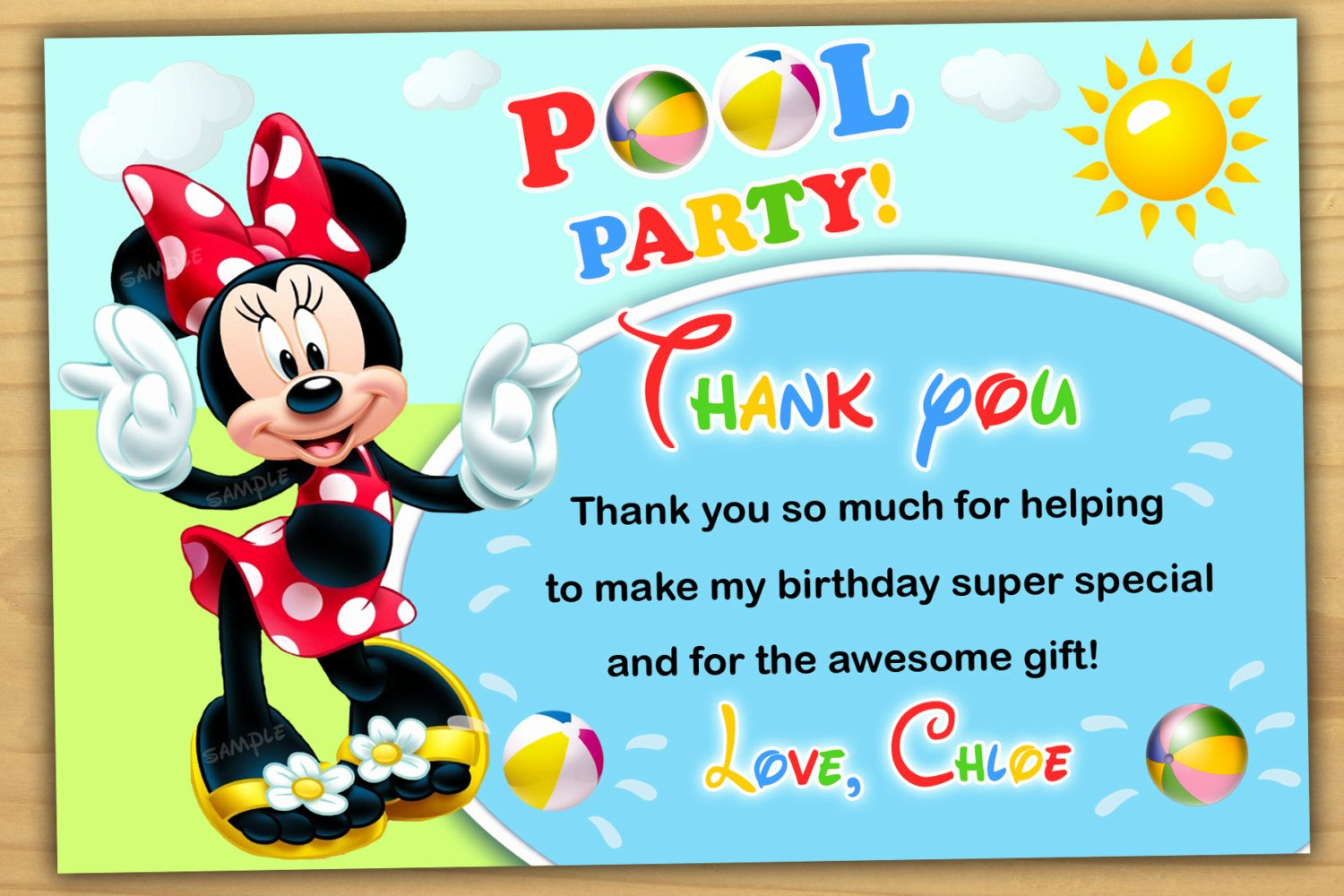 Minnie Mouse Pool Party Invitations Awesome Minnie Mouse Pool Party Thank You Card Minnie Mouse Swim