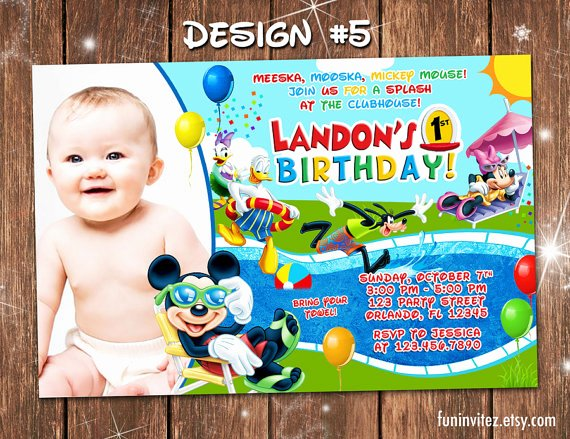 Minnie Mouse Pool Party Invitations Beautiful Mickey Mouse Clubhouse Swim Pool Slide Birthday Party