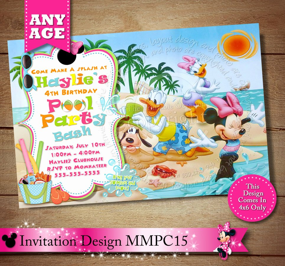 Minnie Mouse Pool Party Invitations Beautiful Minnie Mouse Beach Invitation Minnie Mouse Pool Party
