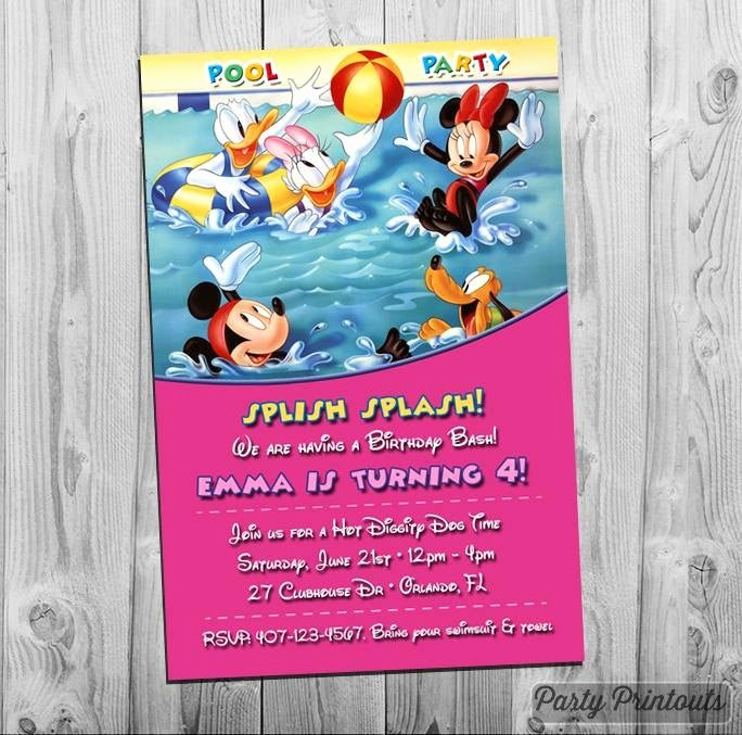 Minnie Mouse Pool Party Invitations Beautiful Minnie Mouse Pool Party Invitation Printable Mickey Birthday