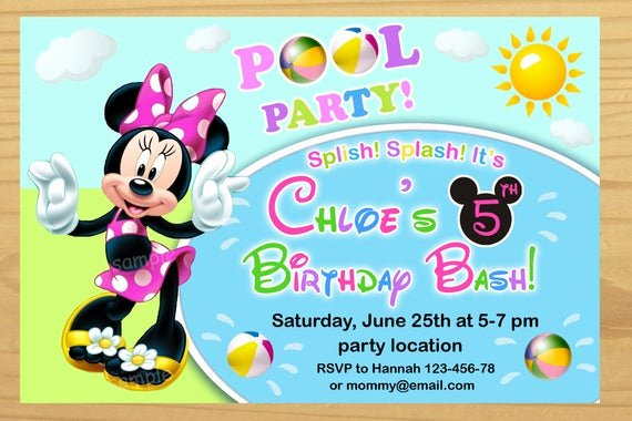 Minnie Mouse Pool Party Invitations Elegant Minnie Mouse Pool Party Invitation Minnie Mouse Summer