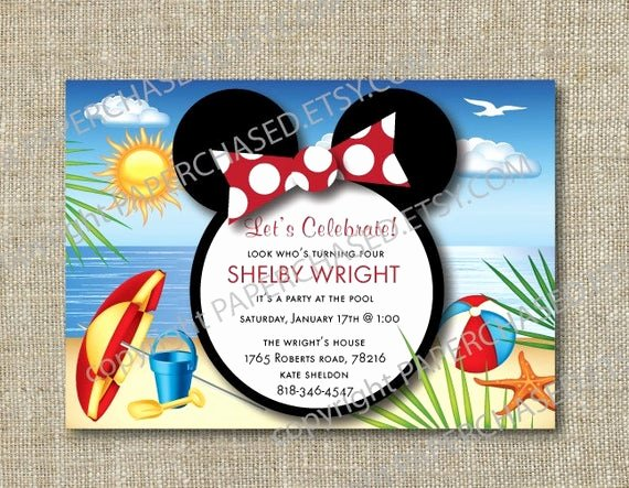 Minnie Mouse Pool Party Invitations Elegant Minnie Mouse Pool Party Invite