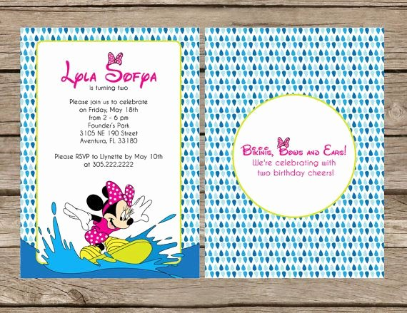 Minnie Mouse Pool Party Invitations Elegant Minnie Mouse Pool Party Printable Diy Invitation by