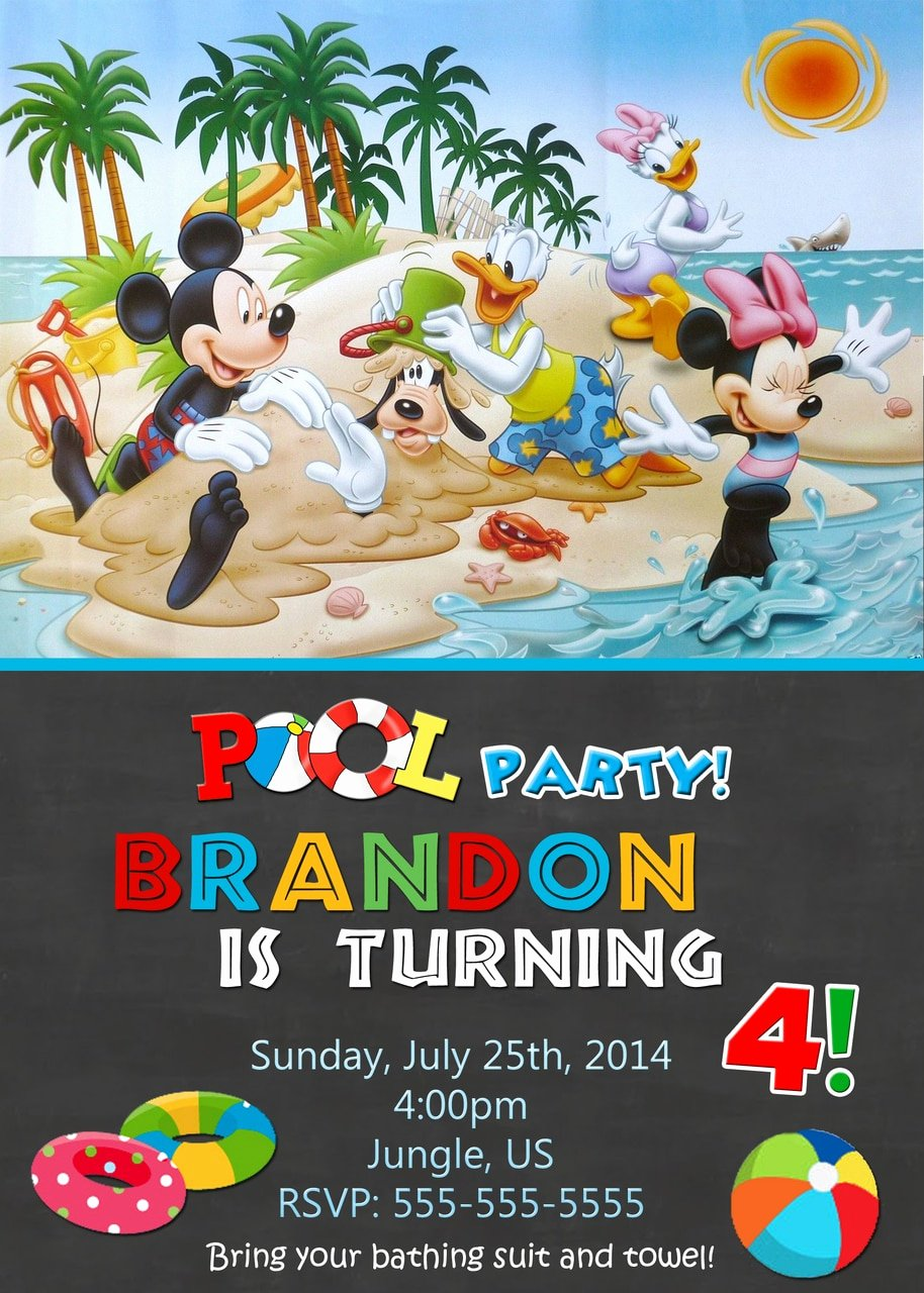 Minnie Mouse Pool Party Invitations Fresh Chalkboard Pool Party Mickey Mouse Birthday Invitations