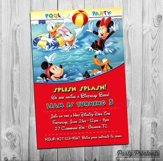 Minnie Mouse Pool Party Invitations Fresh Mickey Mouse Pool Party Invitation