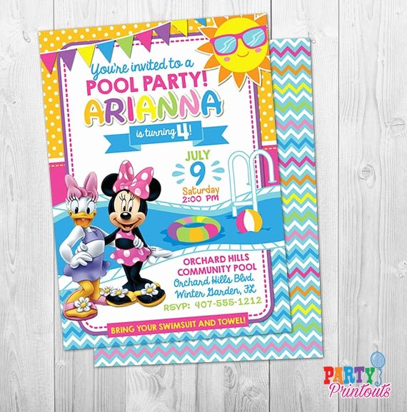 Minnie Mouse Pool Party Invitations Lovely Minnie Mouse Pool Party Invitation Minnie Pool Party