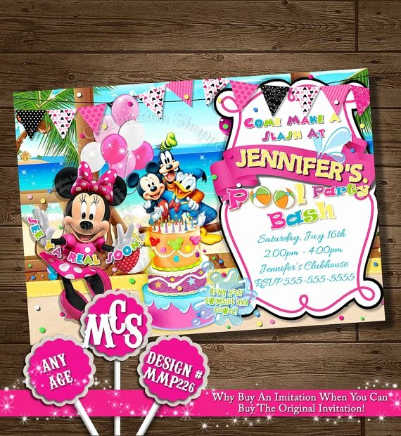 Minnie Mouse Pool Party Invitations Luxury Minnie Mouse Invitation Beach Invitation Beach Alua