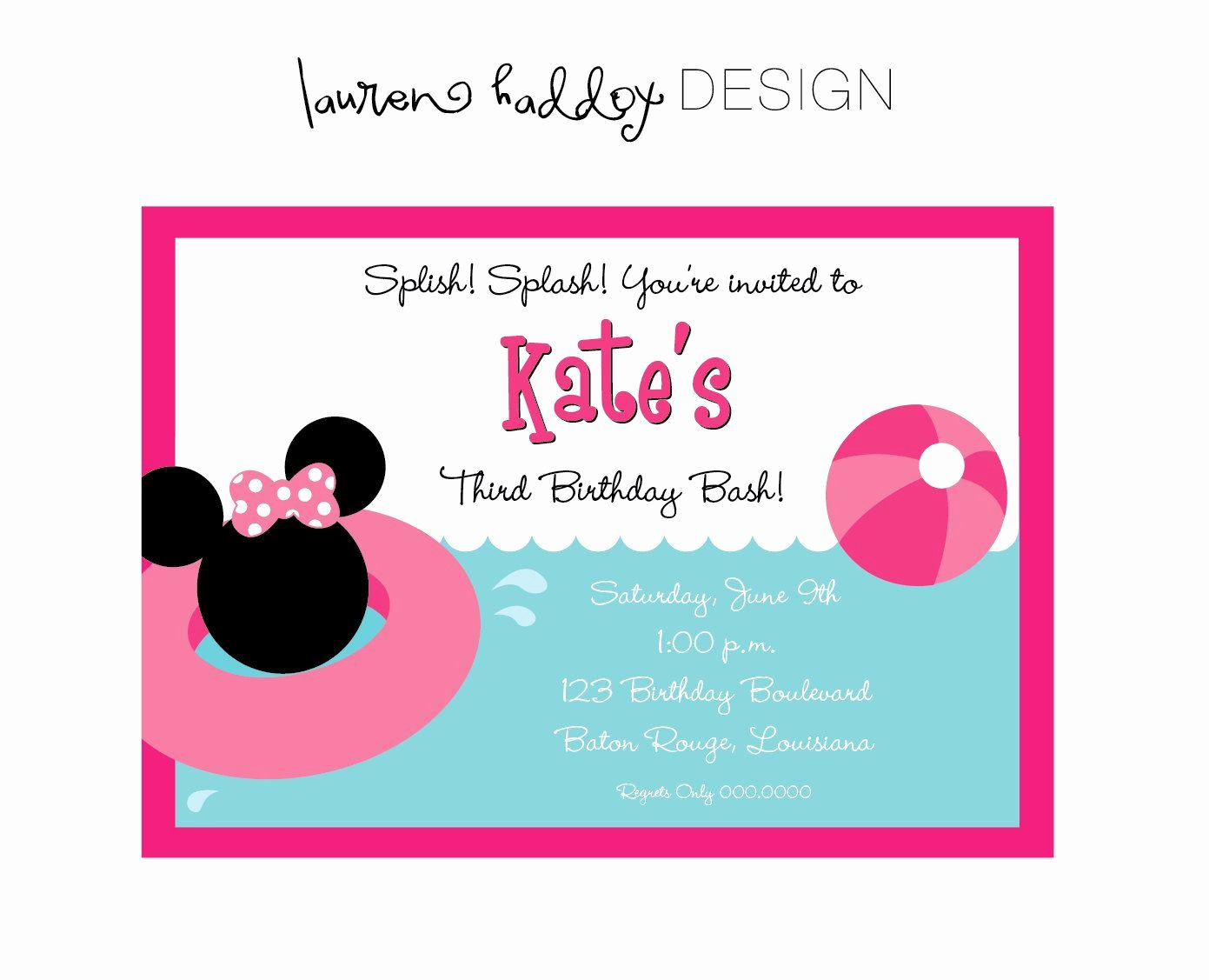 Minnie Mouse Pool Party Invitations New Diy Minnie Mouse Pool Party Birthday Invitation $12 00