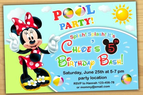 Minnie Mouse Pool Party Invitations New Minnie Mouse Pool Party Invitation Minnie Mouse Birthday
