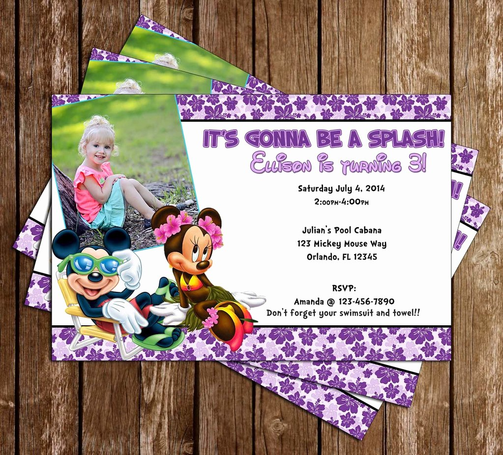 Minnie Mouse Pool Party Invitations New Novel Concept Designs Disney Mickey & Minnie Mouse Pool