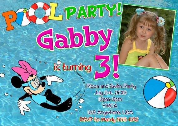 Minnie Mouse Pool Party Invitations Unique Minnie Mouse Pool Party Birthday Invitations Diy Digital